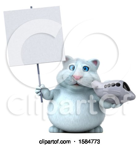 Clipart of a 3d White Kitty Cat Holding a Plane, on a White Background - Royalty Free Vector Illustration by Julos
