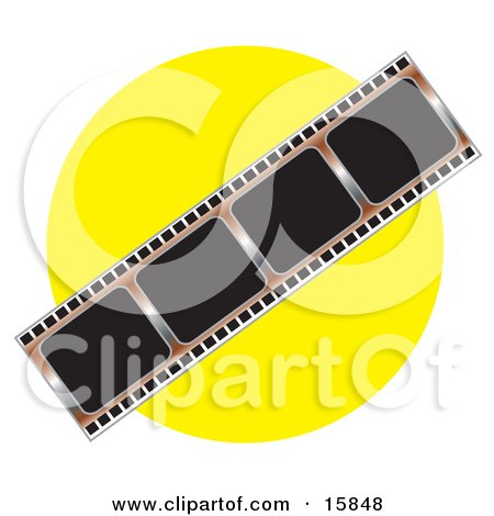 Negative Photo Film Strip Over A Yellow Background Clipart Illustration by Andy Nortnik