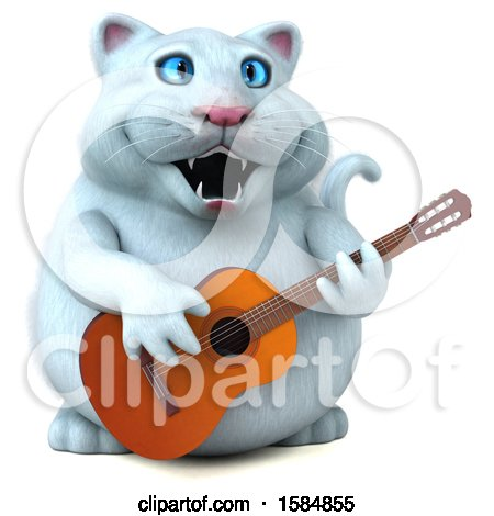 Clipart of a 3d White Kitty Cat Playing a Guitar, on a White Background - Royalty Free Vector Illustration by Julos