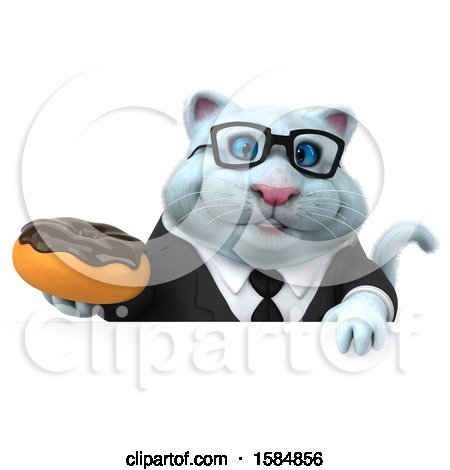 Clipart of a 3d White Business Kitty Cat Holding a Donut, on a White Background - Royalty Free Vector Illustration by Julos