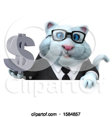 Clipart of a 3d White Business Kitty Cat Holding a Dollar Sign, on a White Background - Royalty Free Vector Illustration by Julos