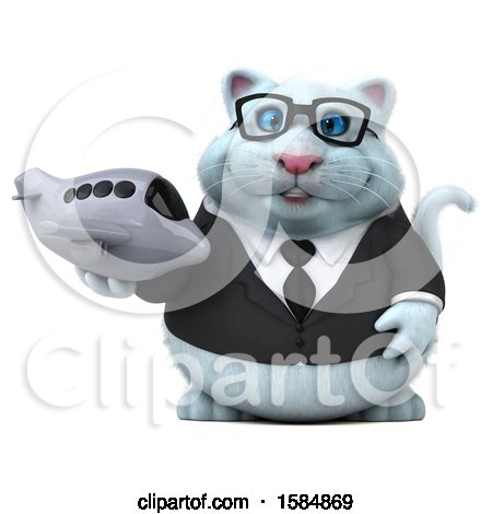 Clipart of a 3d White Business Kitty Cat Holding a Plane, on a White Background - Royalty Free Vector Illustration by Julos