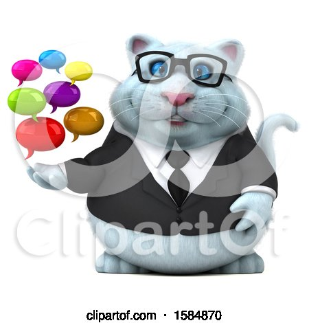 Clipart of a 3d White Business Kitty Cat Holding Messages, on a White Background - Royalty Free Vector Illustration by Julos
