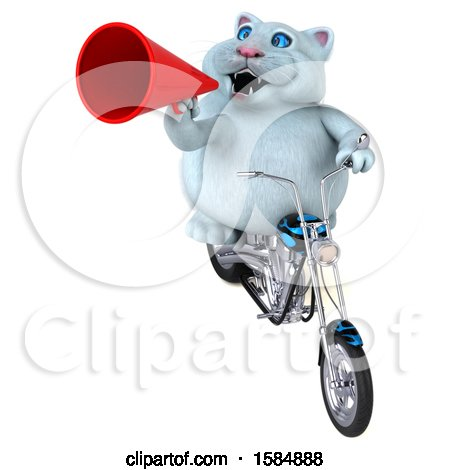 Clipart of a 3d White Kitty Cat Biker Riding a Chopper Motorcycle, on a White Background - Royalty Free Vector Illustration by Julos