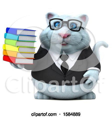 Clipart of a 3d White Business Kitty Cat Holding Books, on a White Background - Royalty Free Vector Illustration by Julos