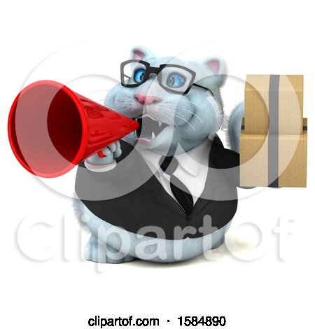 Clipart of a 3d White Business Kitty Cat Holding Boxes, on a White Background - Royalty Free Vector Illustration by Julos