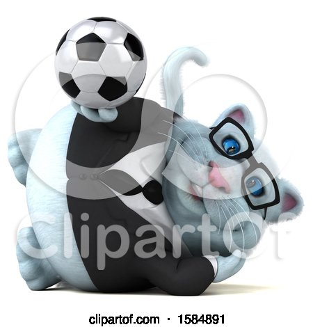 Clipart of a 3d White Business Kitty Cat Holding a Soccer Ball, on a White Background - Royalty Free Vector Illustration by Julos