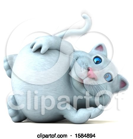 Clipart of a 3d White Kitty Cat Resting, on a White Background - Royalty Free Vector Illustration by Julos