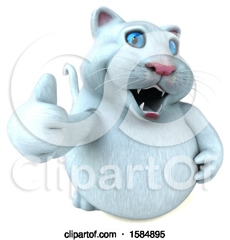 Clipart of a 3d White Kitty Cat Holding a Thumb Up, on a White Background - Royalty Free Vector Illustration by Julos