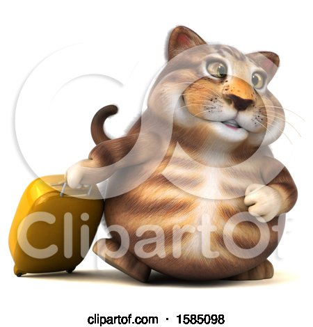 Clipart of a 3d Tabby Kitty Cat Traveling, on a White Background - Royalty Free Vector Illustration by Julos