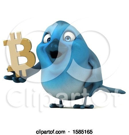 Clipart of a 3d Blue Bird Holding a Bitcoin Symbol, on a White Background - Royalty Free Illustration by Julos