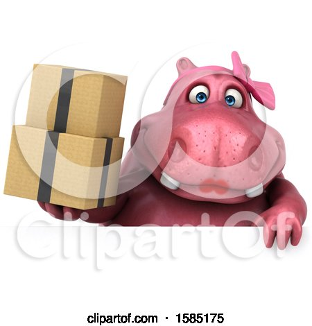Clipart of a 3d Pink Henrietta Hippo Holding Boxes, on a White Background - Royalty Free Illustration by Julos
