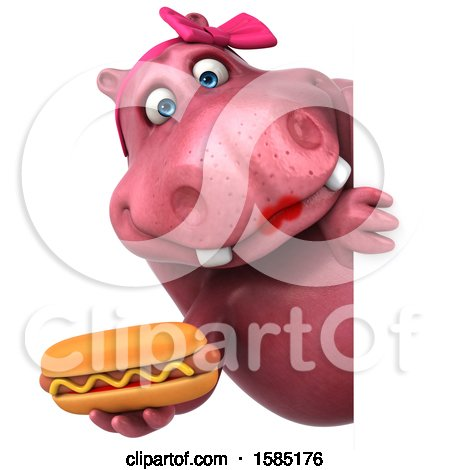 Clipart of a 3d Pink Henrietta Hippo Holding a Hot Dog, on a White Background - Royalty Free Illustration by Julos