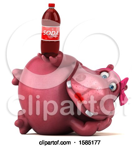 Clipart of a 3d Pink Henrietta Hippo Holding a Soda, on a White Background - Royalty Free Illustration by Julos