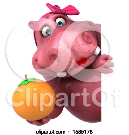 Clipart of a 3d Pink Henrietta Hippo Holding an Orange, on a White Background - Royalty Free Illustration by Julos