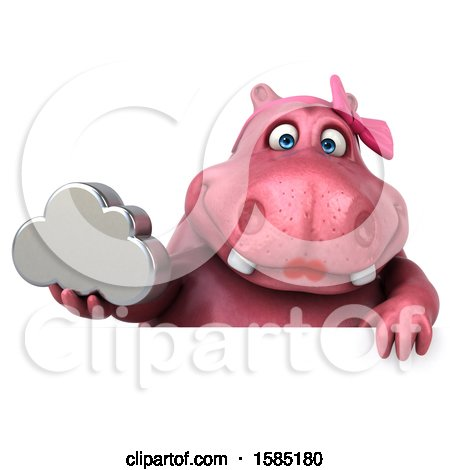 Clipart of a 3d Pink Henrietta Hippo Holding a Cloud, on a White Background - Royalty Free Illustration by Julos