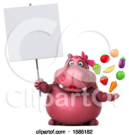 Clipart of a 3d Pink Henrietta Hippo Holding Produce, on a White Background - Royalty Free Illustration by Julos