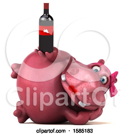 Clipart of a 3d Pink Henrietta Hippo Holding Wine, on a White Background - Royalty Free Illustration by Julos
