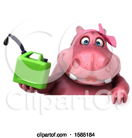 Clipart of a 3d Pink Henrietta Hippo Holding a Gas Can, on a White Background - Royalty Free Illustration by Julos