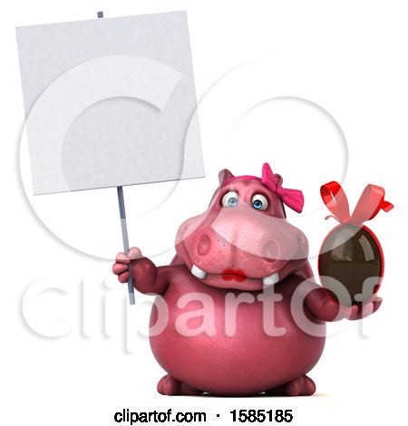 Clipart of a 3d Pink Henrietta Hippo Holding a Chocolate Egg, on a White Background - Royalty Free Illustration by Julos