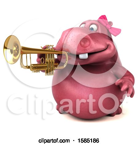 Clipart of a 3d Pink Henrietta Hippo Playing a Trumpet, on a White Background - Royalty Free Illustration by Julos
