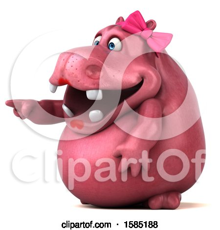 Clipart of a 3d Pink Henrietta Hippo Pointing, on a White Background - Royalty Free Illustration by Julos