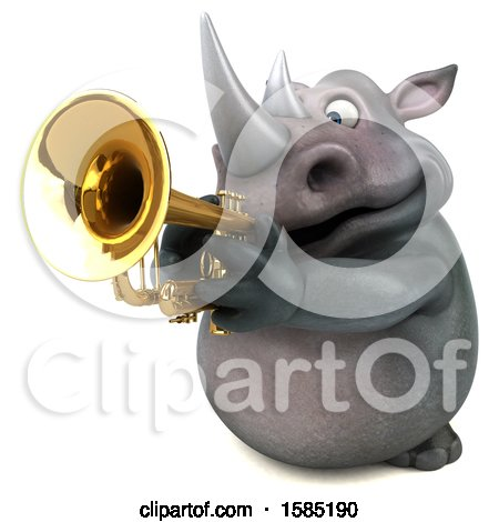 Clipart of a 3d Rhinoceros Playing a Trumpet, on a White Background - Royalty Free Illustration by Julos