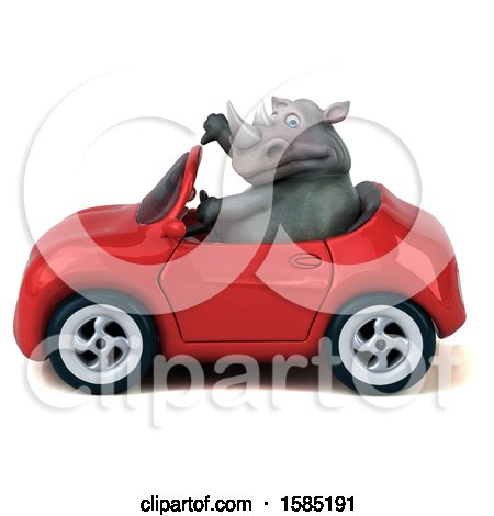 Clipart of a 3d Rhinoceros Driving a Convertible, on a White Background - Royalty Free Illustration by Julos