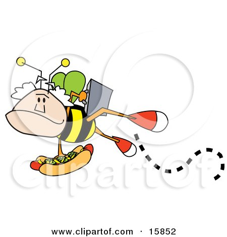 Mans Head On A Bee's Body, Carrying A Briefcase And A Hotdog Topped With Mustard And Relish Posters, Art Prints