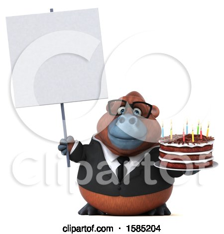 Clipart of a 3d Business Orangutan Monkey Holding a Birthday Cake, on a White Background - Royalty Free Illustration by Julos