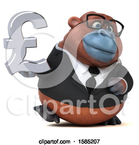 Clipart of a 3d Business Orangutan Monkey Holding a Pound Currency Symbol, on a White Background - Royalty Free Illustration by Julos