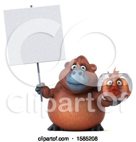 Clipart of a 3d Orangutan Holding a Fish Bowl, on a White Background - Royalty Free Illustration by Julos