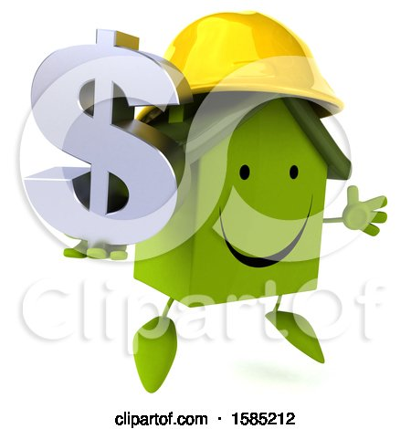 Clipart of a 3d Green Home Contractor Holding a Dollar Sign, on a White Background - Royalty Free Illustration by Julos