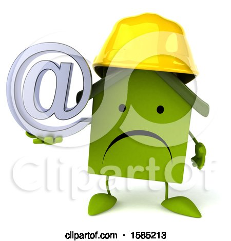 Clipart of a 3d Green Home Contractor Holding an Arobase Symbol, on a White Background - Royalty Free Illustration by Julos