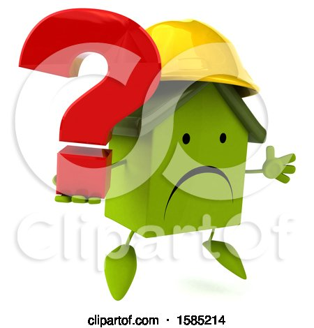 Clipart of a 3d Green Home Contractor Holding a Question Mark, on a White Background - Royalty Free Illustration by Julos