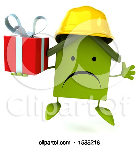 Clipart of a 3d Green Home Contractor Holding a Gift, on a White Background - Royalty Free Illustration by Julos
