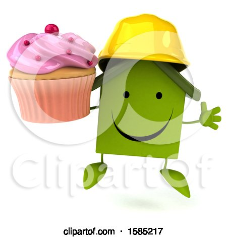 Clipart of a 3d Green Home Contractor Holding a Cupcake, on a White Background - Royalty Free Illustration by Julos