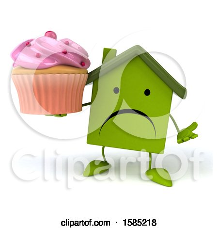 Clipart of a 3d Green Home Holding a Cupcake, on a White Background - Royalty Free Illustration by Julos