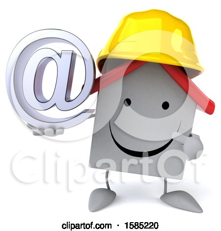 Clipart of a 3d White Home Contractor Holding an at Symbol, on a White Background - Royalty Free Illustration by Julos