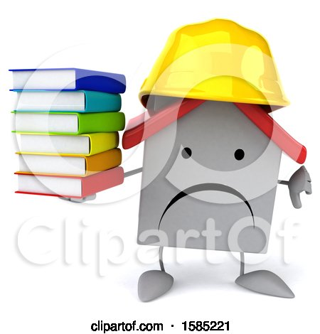 Clipart of a 3d White Home Contractor Holding Books, on a White Background - Royalty Free Illustration by Julos