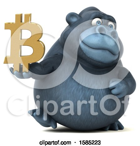 Clipart of a 3d Gorilla Holding a Bitcoin Symbol, on a White Background - Royalty Free Illustration by Julos