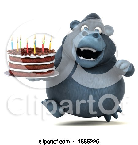 Clipart of a 3d Gorilla Holding a Birthday Cake, on a White Background - Royalty Free Illustration by Julos