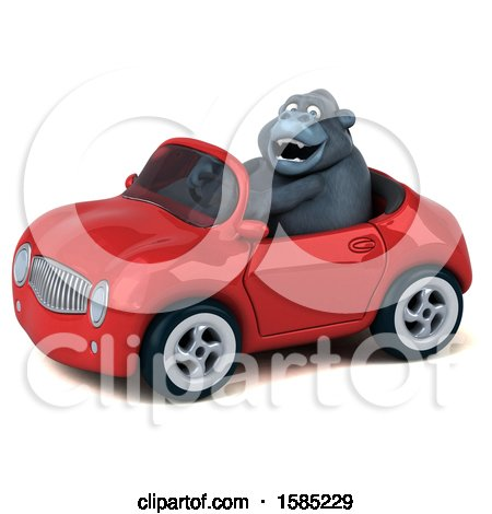 Clipart of a 3d Gorilla Driving a Convertible, on a White Background - Royalty Free Illustration by Julos