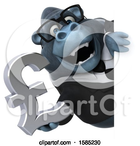 Clipart of a 3d Business Gorilla Holding a Lira Pound Currency Symbol, on a White Background - Royalty Free Illustration by Julos