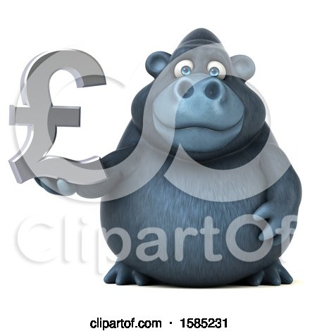 Clipart of a 3d Gorilla Holding a Lira Pound Currency Symbol, on a White Background - Royalty Free Illustration by Julos