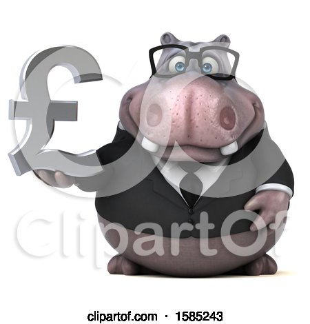 Clipart of a 3d Business Hippo Holding a Lira Pound Currency Symbol, on a White Background - Royalty Free Illustration by Julos