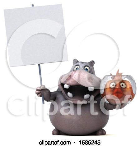 Clipart of a 3d Hippo Holding a Fish Bowl, on a White Background - Royalty Free Illustration by Julos