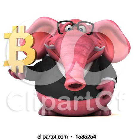 Clipart of a 3d Pink Business Elephant Holding a Bitcoin, on a White Background - Royalty Free Illustration by Julos