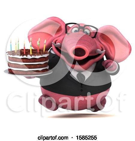 Clipart of a 3d Pink Business Elephant Holding a Birthday Cake, on a White Background - Royalty Free Illustration by Julos