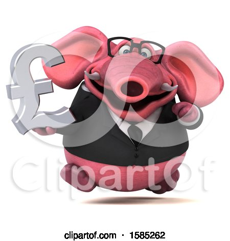 Clipart of a 3d Pink Business Elephant Holding a Pound Currency Symbol, on a White Background - Royalty Free Illustration by Julos
